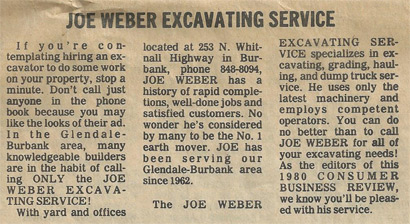 Joe Weber Family Ad from the 80's